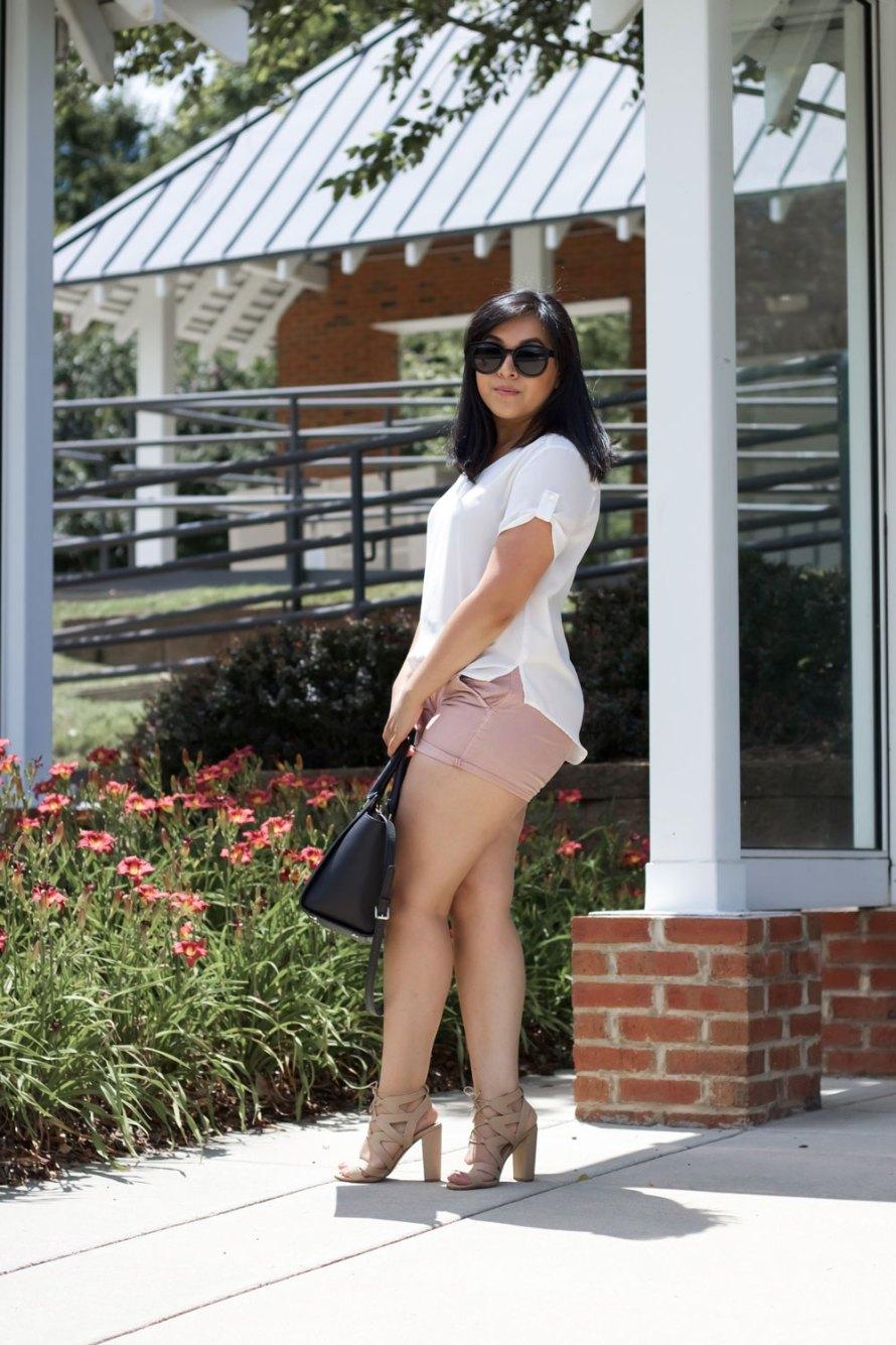 mauve shorts white top