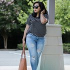 stripe t-shirt distressed denim cognac details summer outfit