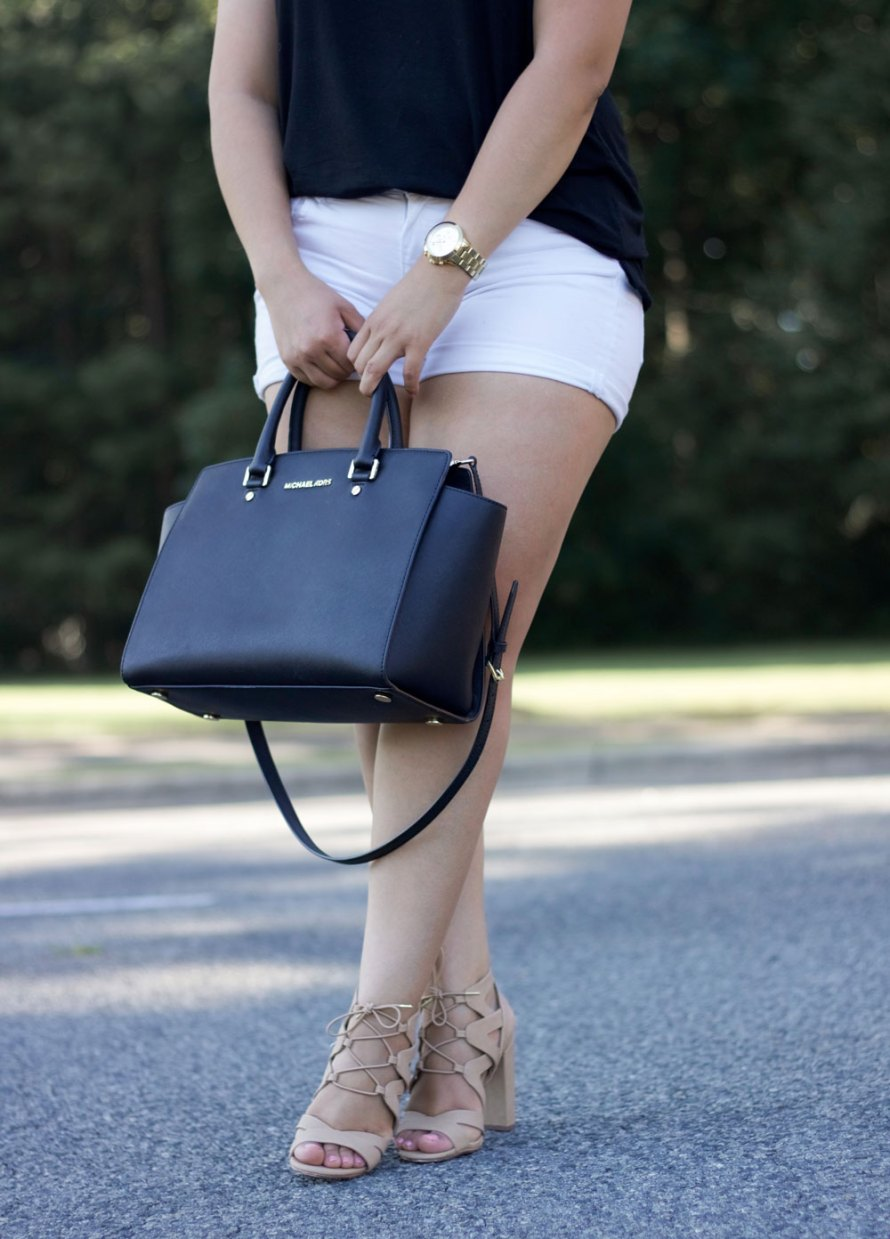 black t-shirt nude heels