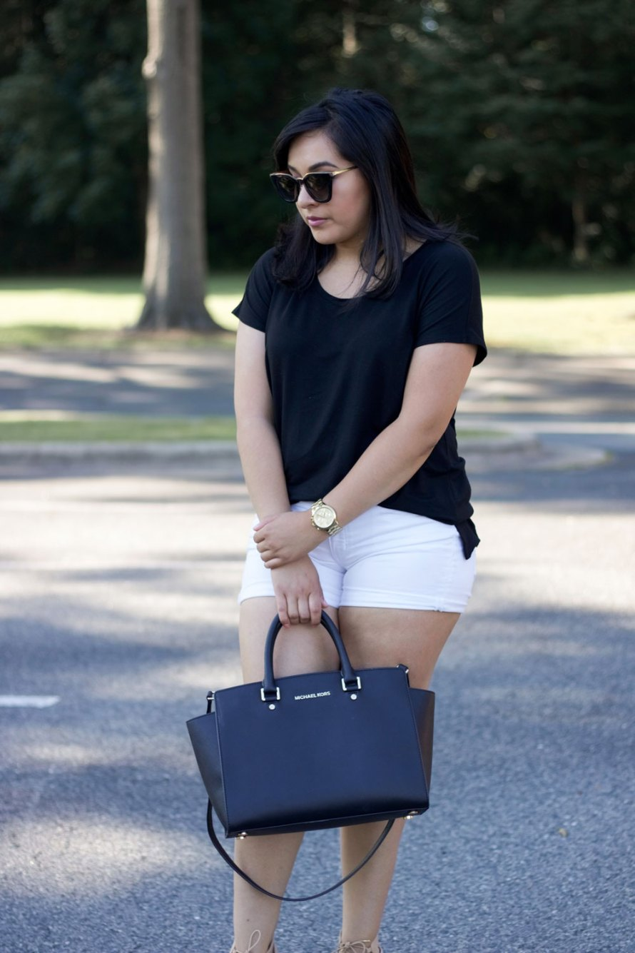 black white summer outfit