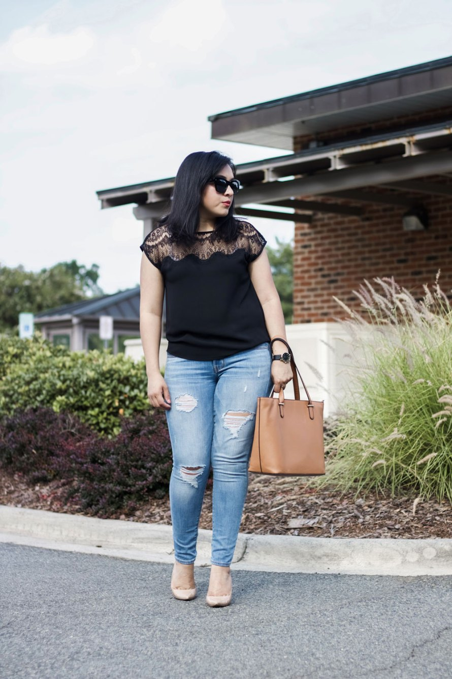 lace detail top casual chic outfit