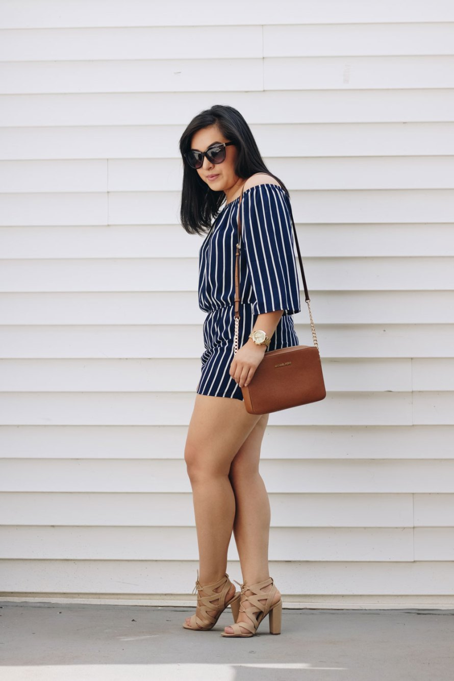 striped romper casual chic style
