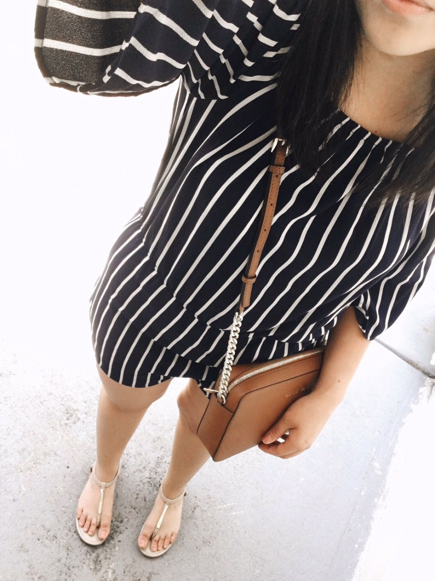 striped romper summer outfit