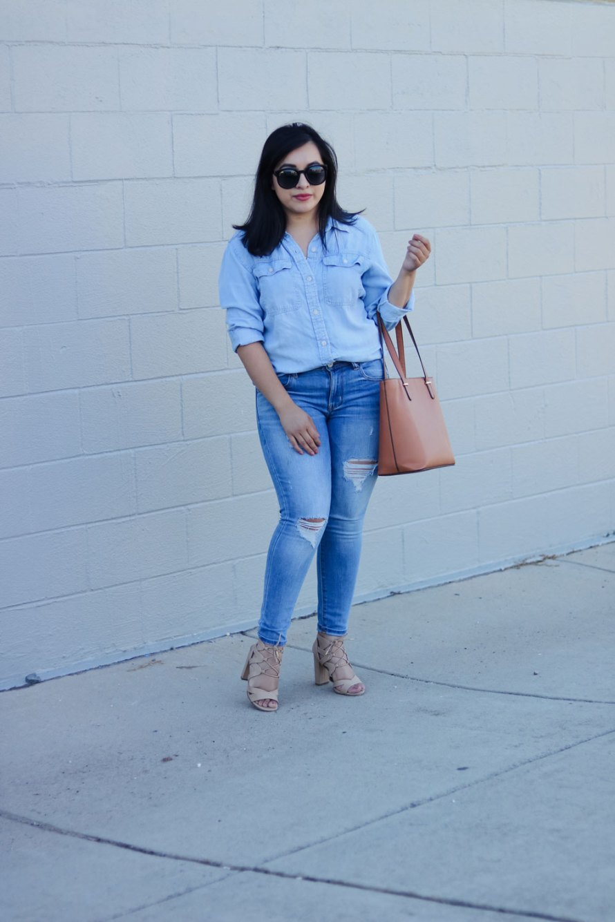 denim on denim outfit casual