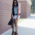 denim vest white shorts cognac heels summer outfit