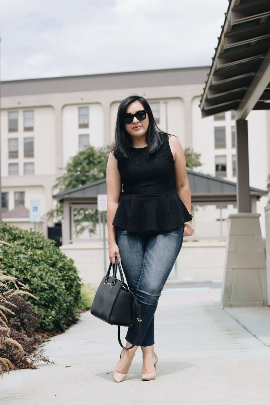 peplum top casual chic summer outfit