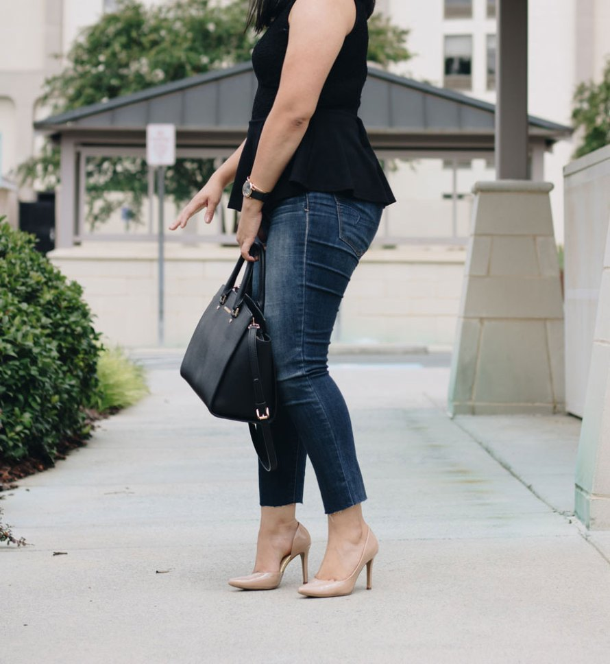 peplum top jeans heels