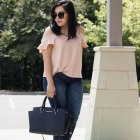 blush pink ruffle sleeve top - dark denim- nude heels- black bag - summer casual chic outfit
