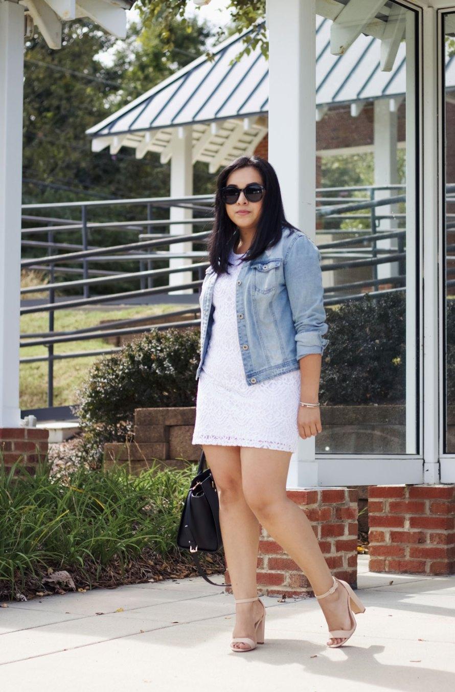white dress denim jacket