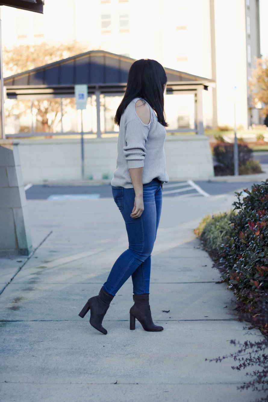 open shoulder gray boots open shoulder sweater casual fall outfit chic style