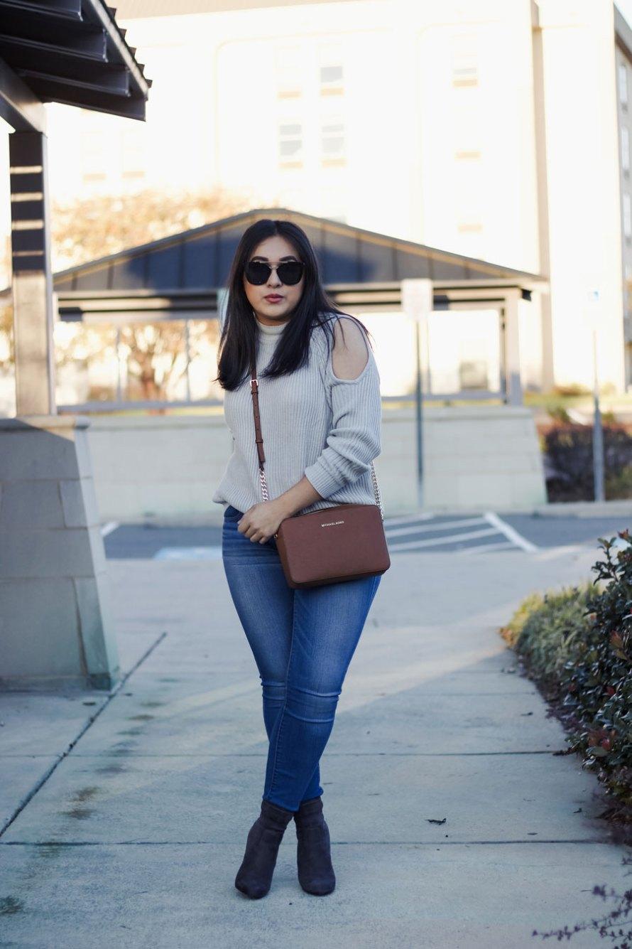 open shoulder jeans gray boots
