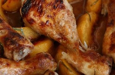 Pollo arrosto con pesche e miele di lavanda