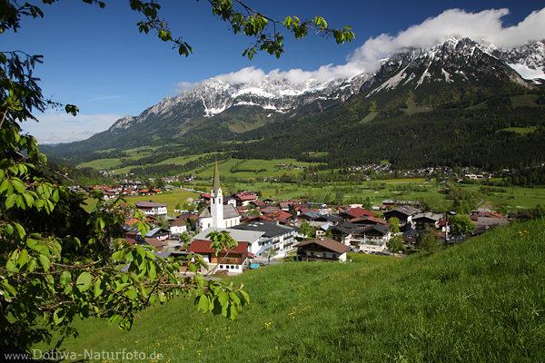 Ellmau Dorf grnes Tal Foto WilderKaiser Berge Panorama Blick Landschaft Fotografie