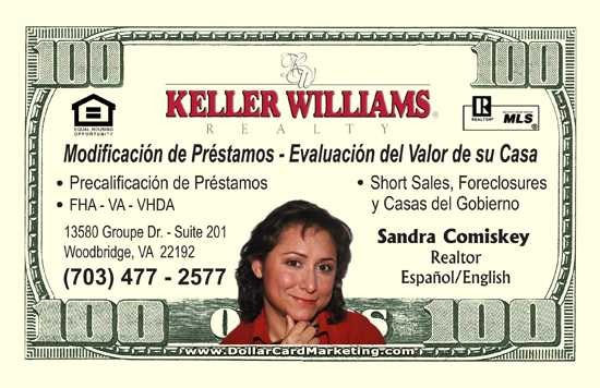 Real Estate Business Cards  Dollar Card Marketing
