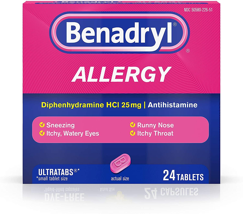 Benadryl Ultratabs Antihistamine Allergy Relief Tablets ...