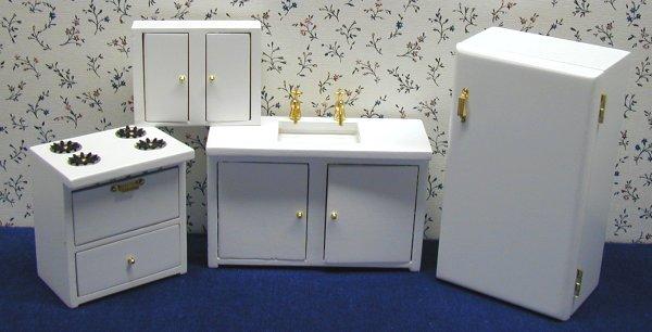 White Dollhouse Kitchen Furniture in 1 Scale