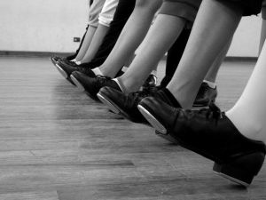 row of tap shoes