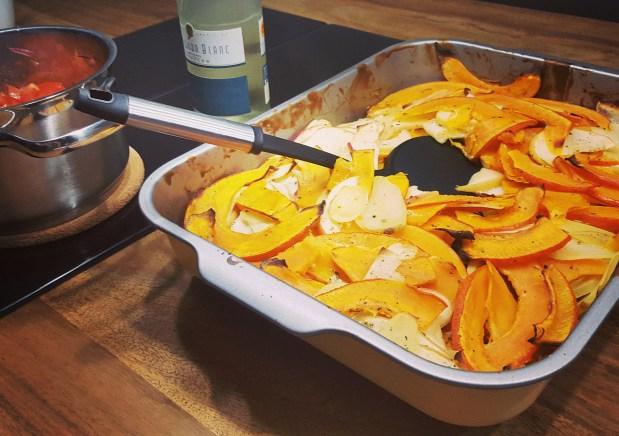 Kürbis-Kartoffel-Apfel Gratin