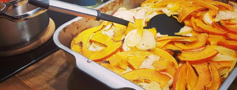 Gratin aus Kartoffeln, Kürbis und Apfel
