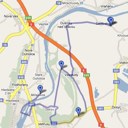 trasa Miřejovického půlmaratónu