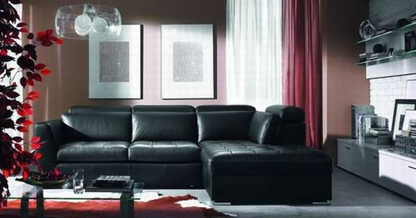 curtains to go with black leather sofa modern contemporary sectional reversible chaise dom.pl™ - aranżacja salonu komfortowe skórzane meble