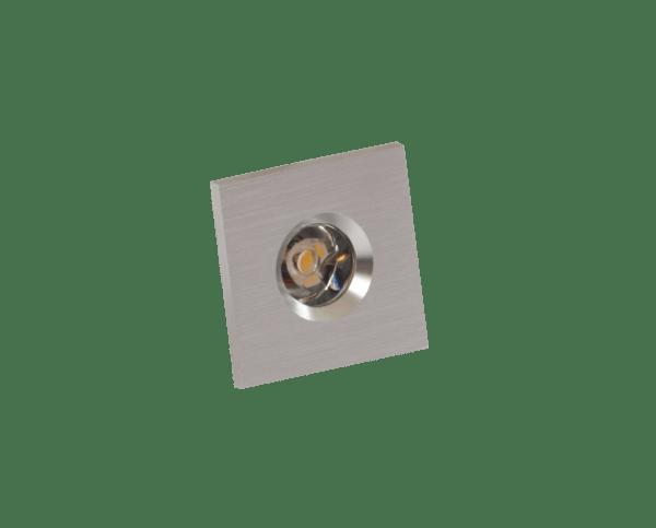 Faretto LED segnapasso 1W silver quadrato