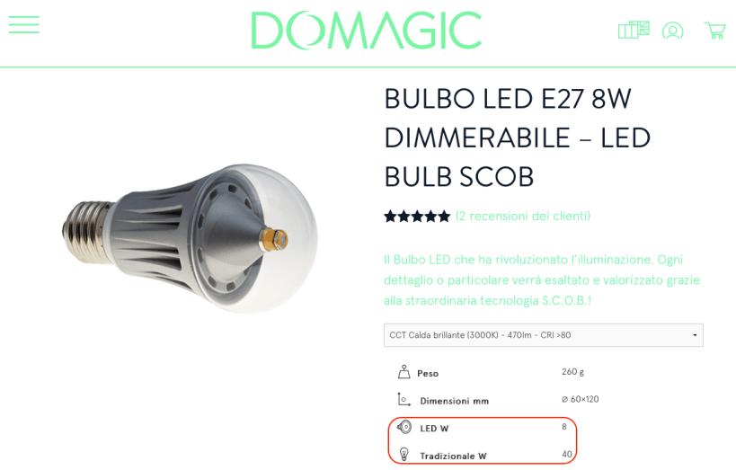 Lampadine LED E27 equivalenza