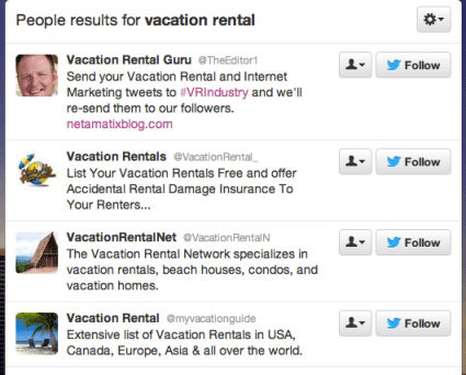 Vacation Rental Twitter Search