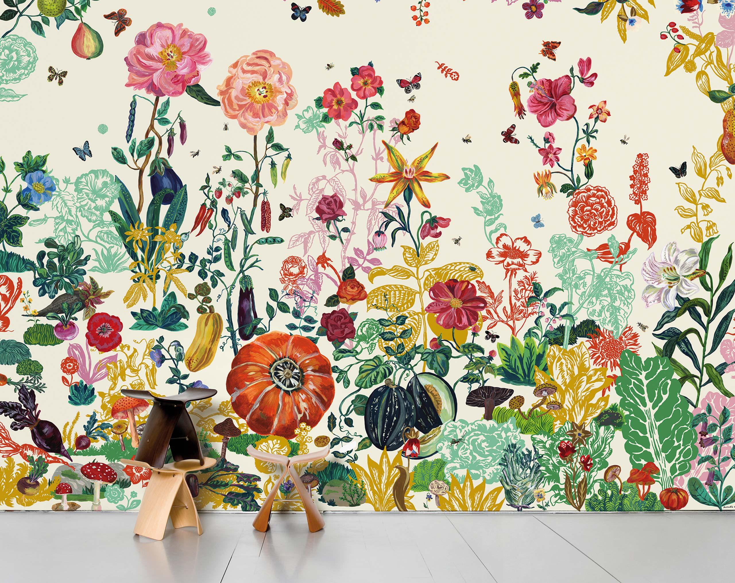 Papiers peints  Nathalie Lt  Jardin creme  Domestic