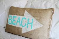 Beach Burlap Pillow - Domestically Speaking