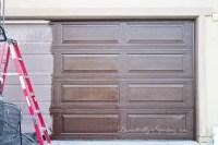 DIY Garage Door Makeover with Stain - Domestically Speaking