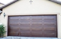 DIY Garage Door Makeover with Stain - Domestically Speaking