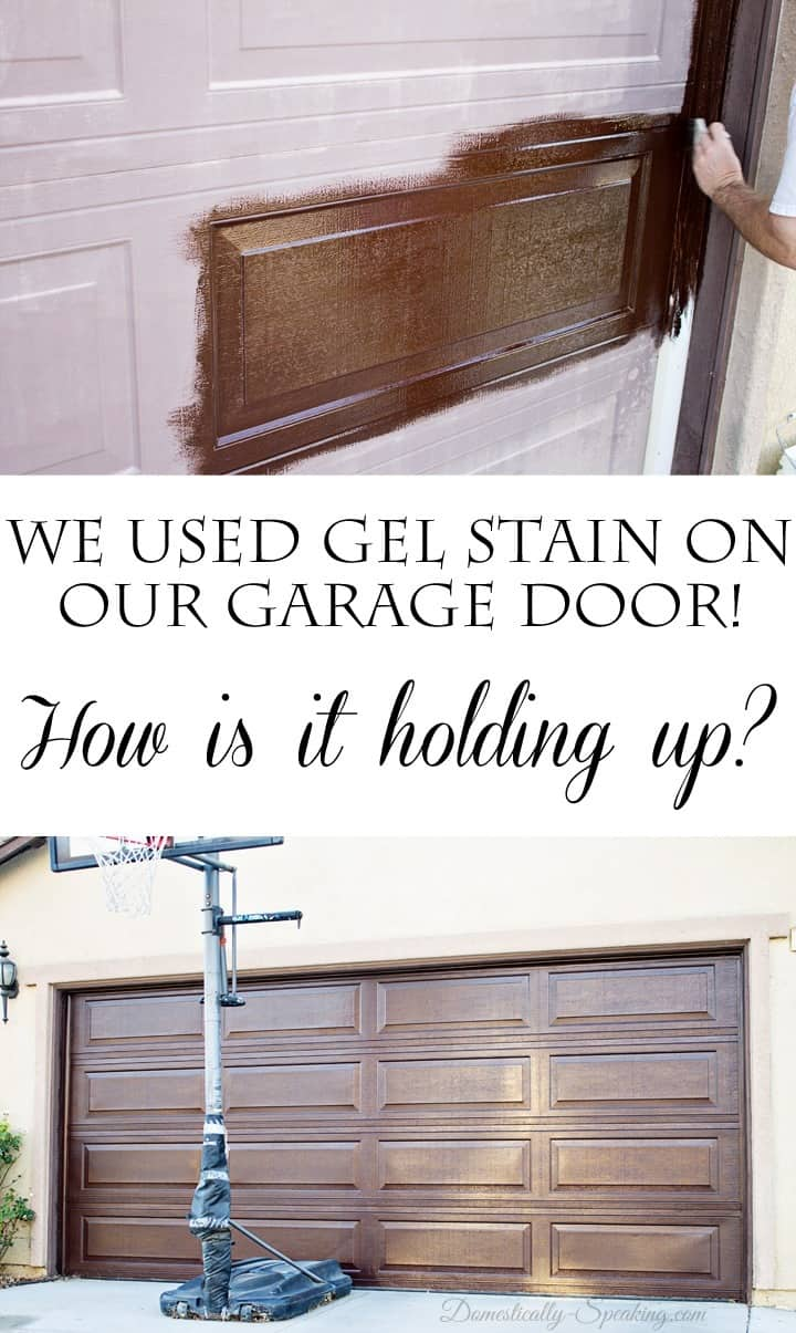 DIY Gel Stain Garage Door Update  Domestically Speaking
