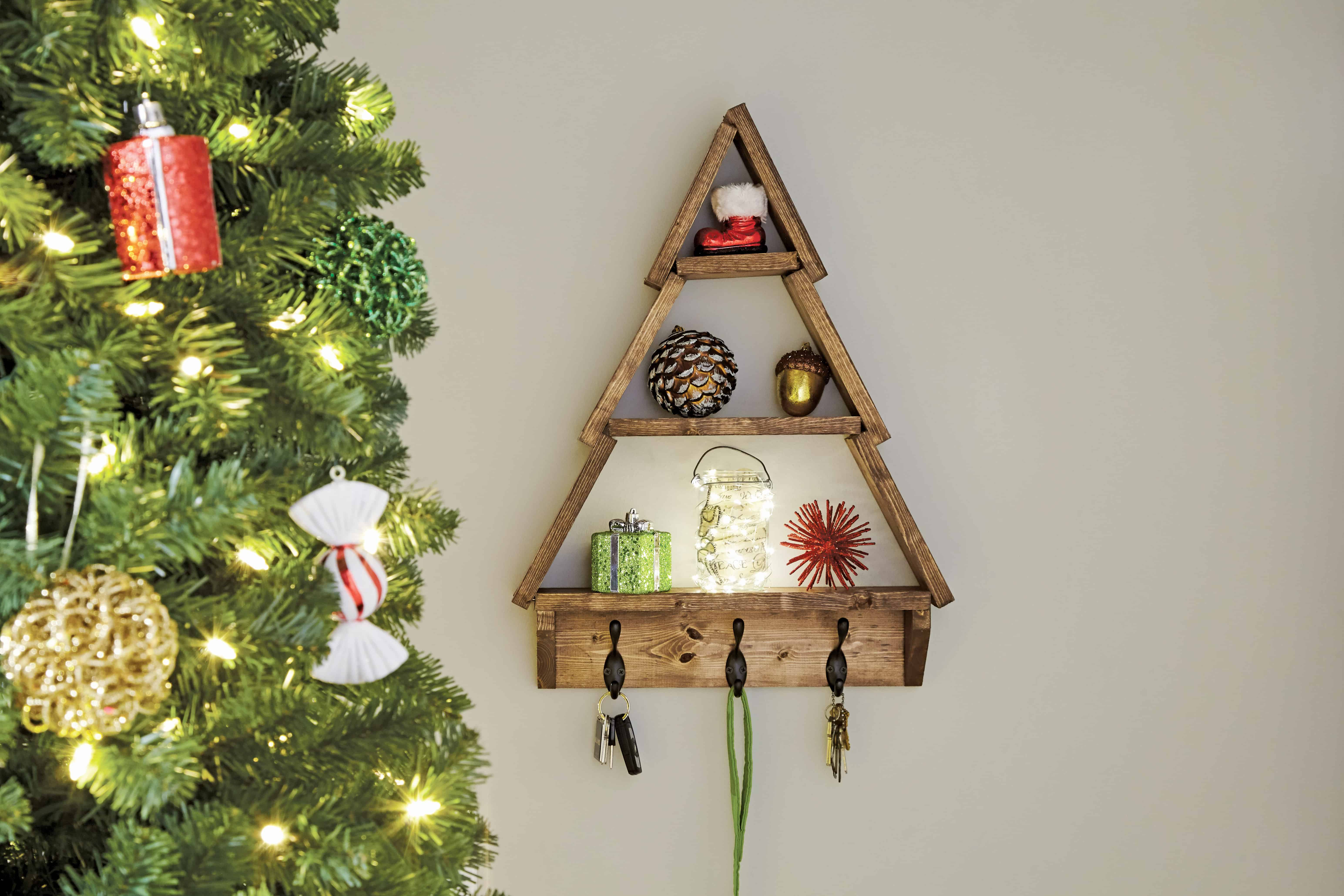 Holiday Tree Shelf With DIY Home Depot Domestically Speaking
