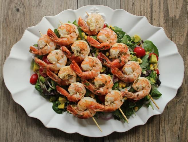 summer-salad-with-avocado-corn-and-grilled-herb-shrimp-skewers