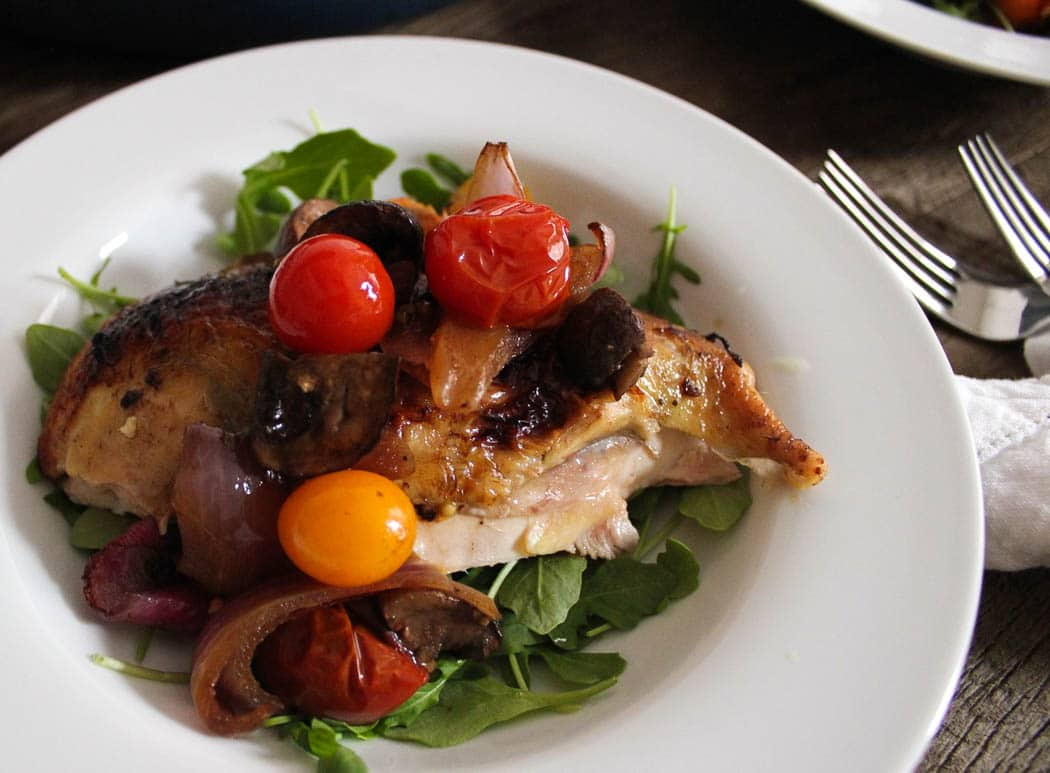 Balsamic Roast Chicken with Tomatoes and Mushrooms ...