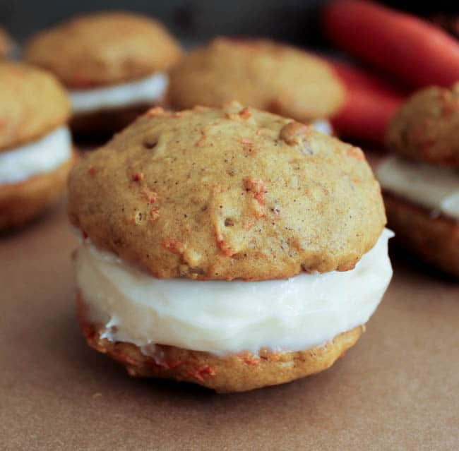 Maple Cream Cheese Frosting carrot cake whoopie pies with maple cream cheese frosting