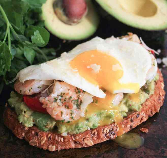 Avocado-Toast-with-Charred-Tomatoes-Garlic-Shrimp-and-Fried-Eggs-5