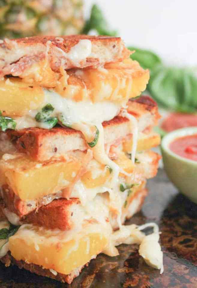 Hawaiian-Grilled-Cheese-With-Grilled-Pineapple-Prosciutto-and-Basil