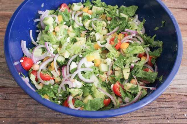 Chopped-Greek-Salad-With-Avocado-Chickpeas-and-Lemon-Dressing-Step-4