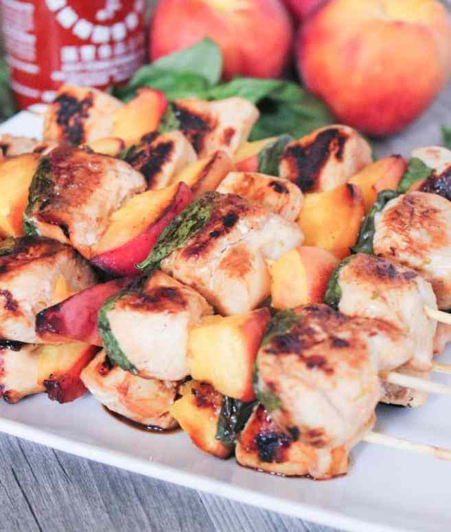 Sriracha-glazed-grilled-chicken-skewers-with-peaches-and-basil