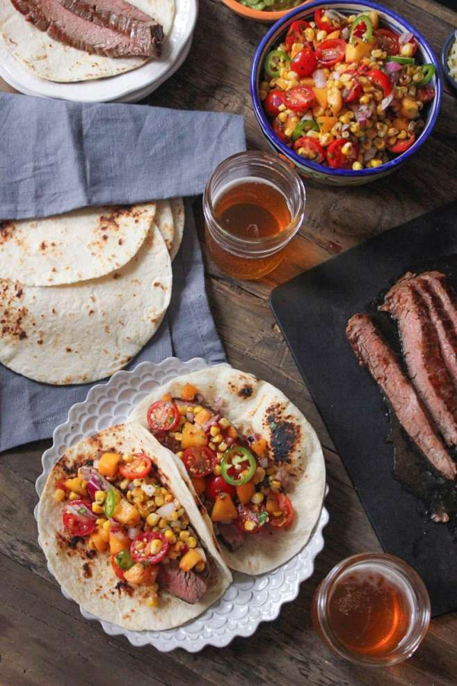 Barbecue-Flank-Steak-Tacos-with-Corn-Peach-Salsa-10