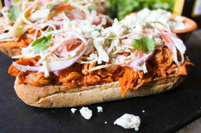 Open-Face Buffalo-Chicken-Subs-with-Ranch-Slaw-and-Blue-Cheese-Crumbles-4