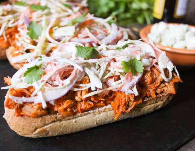 Open-Face Buffalo-Chicken-Subs-with-Ranch-Slaw-and-Blue-Cheese-Crumbles-7