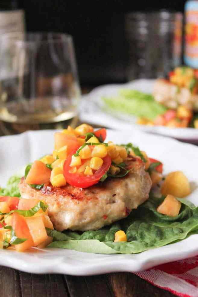 chicken-and-goat-cheese-burgers-with-peaches-corn-and-cherry-tomatoes