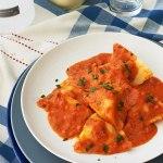Lobster Ravioli with Light Tomato Vodka Sauce