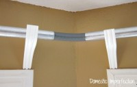 DIY Bay Window Curtain Rod & Back Tab Curtains