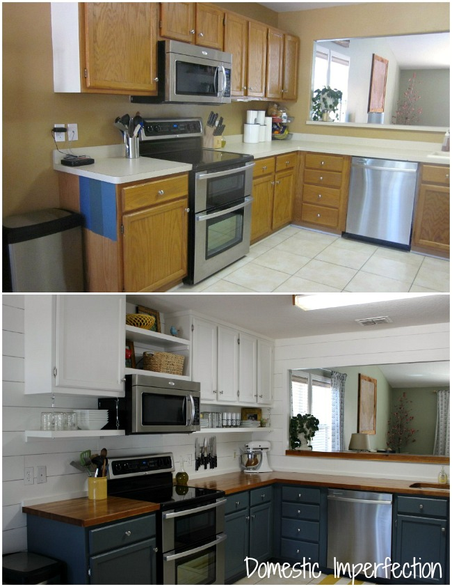 inexpensive kitchen remodel island stainless steel farmhouse on a budget the reveal domestic imperfection diy before and after