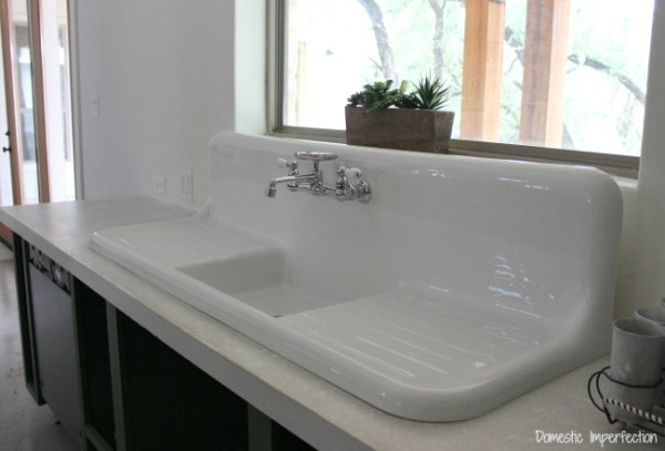 farmhouse kitchen sink with drainboard The Search for a Vintage Farmhouse Sink - Domestic Imperfection
