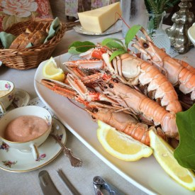 Dinner of local crayfish & 3 different flavors of aioli